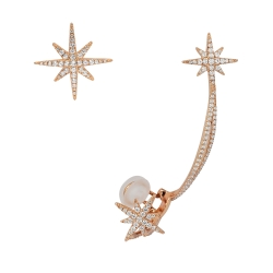 apm MONACO法國精品珠寶 閃耀玫瑰金色流星線條鑲鋯耳骨夾耳針式耳環