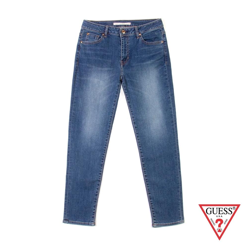 GUESS-女裝-修身窄版牛仔褲-深藍