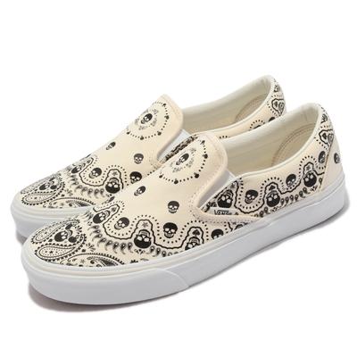Vans 休閒鞋 Classic Slip-On 男女鞋 骷髏頭 懶人鞋 好穿脫 街頭穿搭 情侶鞋 米 黑 VN0A33TB42S
