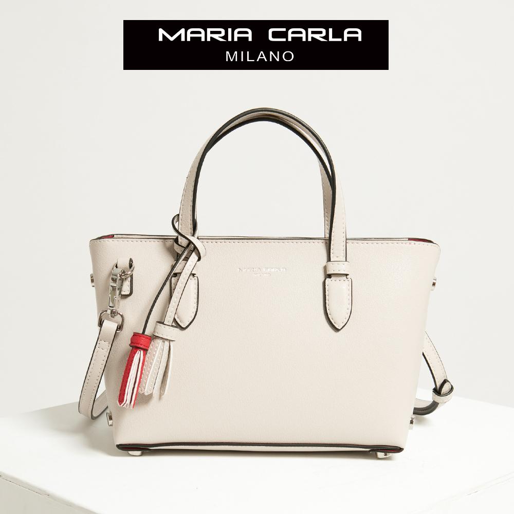 【Maria Carla】荼白色_拉鏈式手提側背托特包(S)_日光休閒_二層牛皮