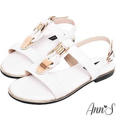 Ann'S名品時尚-編織金扣寬版平底涼鞋-白