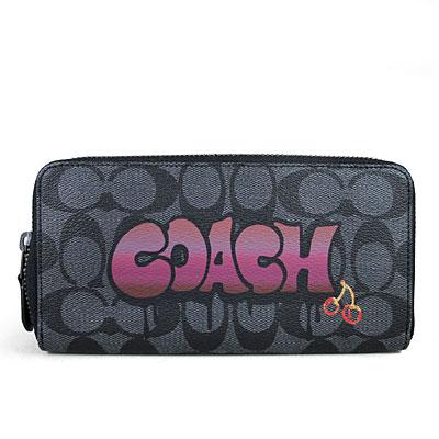 COACH 塗鴉品牌標防潑水Logo閃亮小櫻桃ㄇ型拉鍊長夾(煙燻黑色)