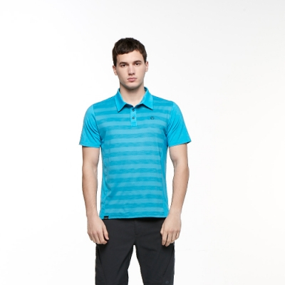 【HAKERS 哈克士】男 彈性吸濕排汗條紋抗UV POLO衫(加勒比海藍)
