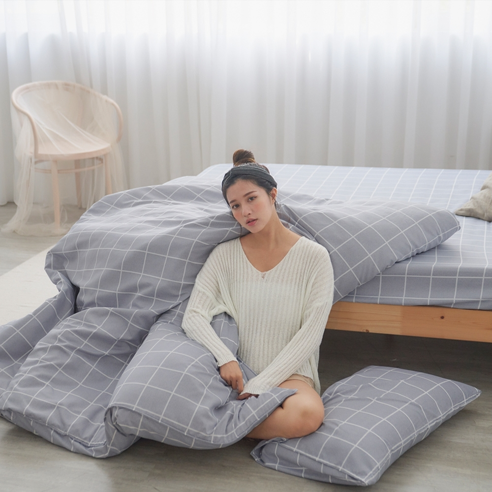 BUHO 雙人加大三件式床包枕套組(光時漫記)