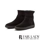 Fair Lady 針織襪套拼接厚底中筒靴 黑