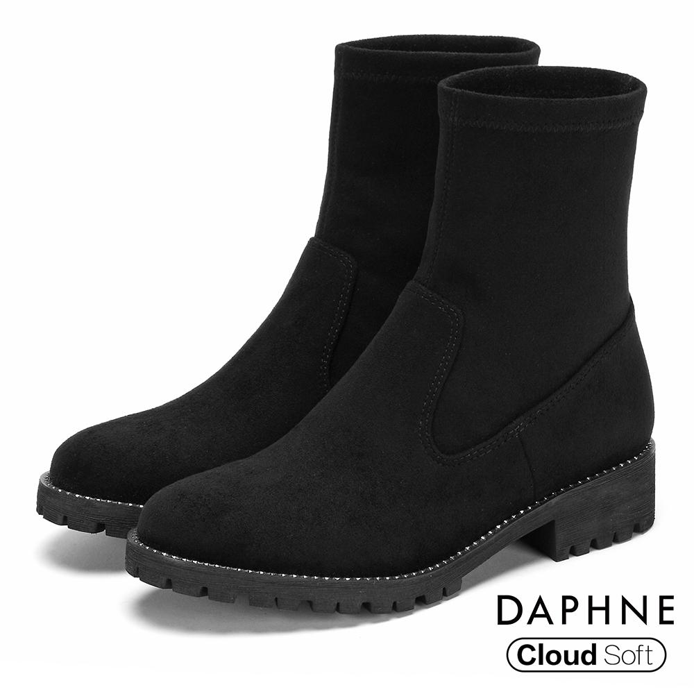 達芙妮DAPHNE 短靴-異材質拼接水鑽綴飾低跟襪靴-黑