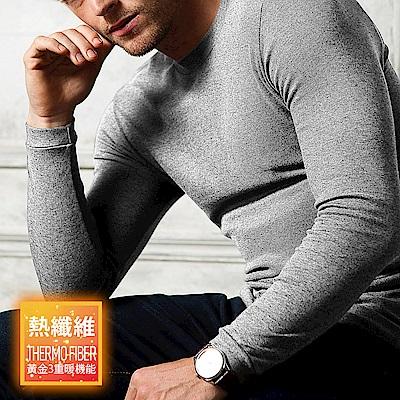 HENIS 熱纖維 黃金3機能 奇蹟發熱衣 (淺麻灰)