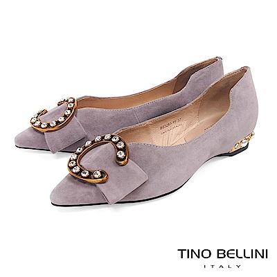 Tino Bellini 華麗C字鑽釦佐寬板蝴蝶結尖楦娃娃鞋 _ 灰