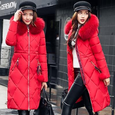 【韓國K.W.】 韓系時尚大毛領羽絨棉長版外套