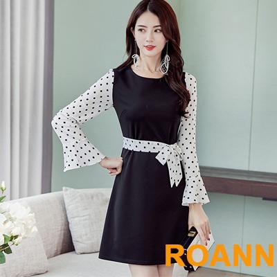 圓領拼接點點印花長袖洋裝 (黑色)-ROANN
