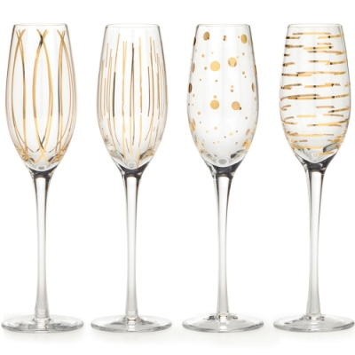 《CreativeTops》紋飾香檳杯4入(金黃207ml)