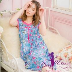睡衣 大尺碼 牛奶絲花朵蕾絲短袖長版連身睡衣(獨特藍) Sexy Meteor
