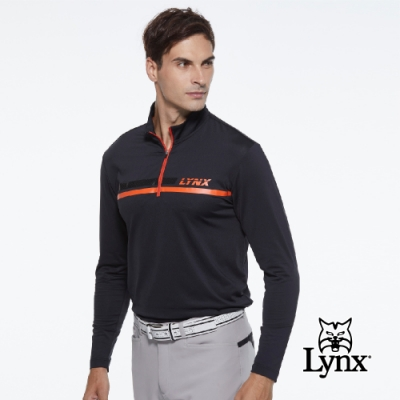 【Lynx Golf】男款合身版壓紋貼條Lynx字樣印花長袖立領POLO衫-黑色
