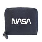 COACH太空系列NASA午夜藍荔枝紋全皮拉鍊短夾