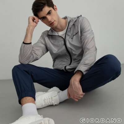 GIORDANO 男裝3M內抽繩束口褲 - 66 標誌藍