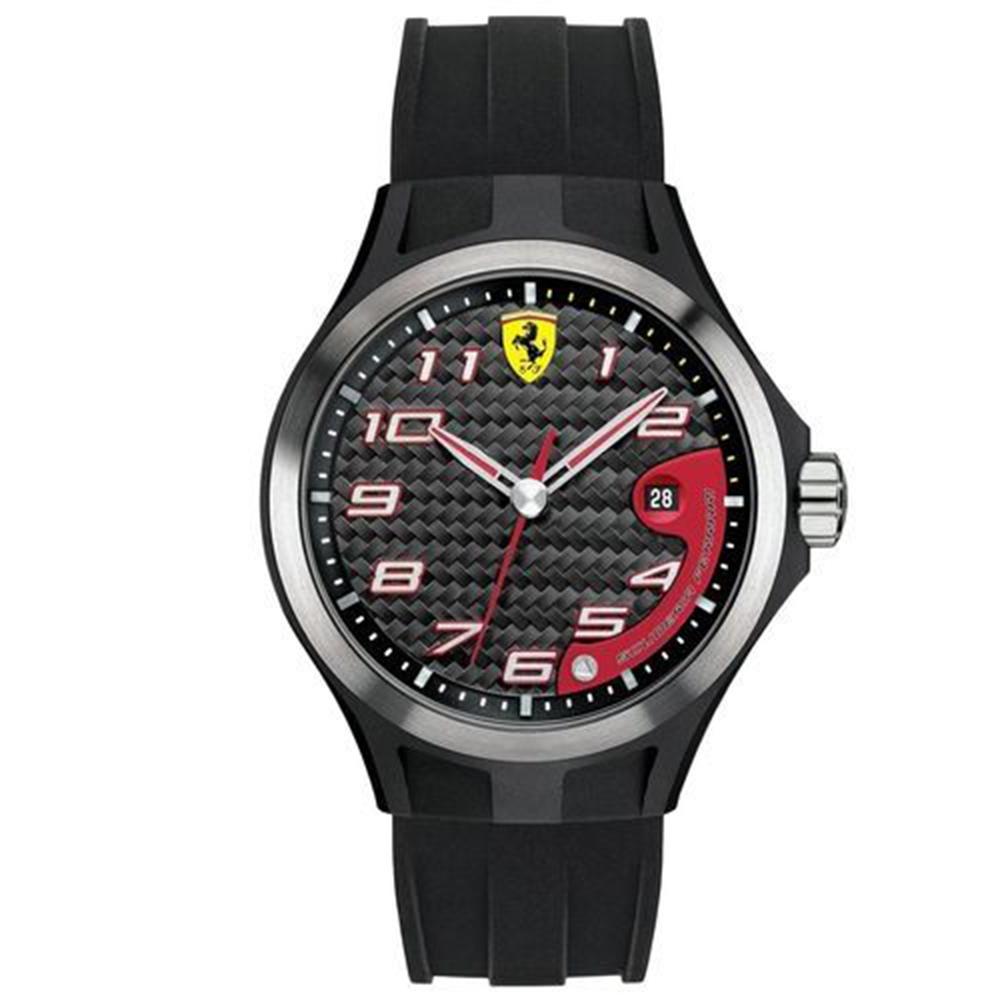 Scuderia Ferrari 法拉利 奔馳快感碳纖維賽車錶-黑/44mm