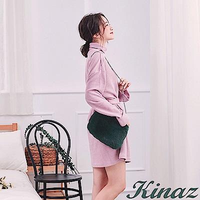 KINAZ 奢華風格兩用鏈帶斜背包-古典墨綠-雪絨Q萌系列