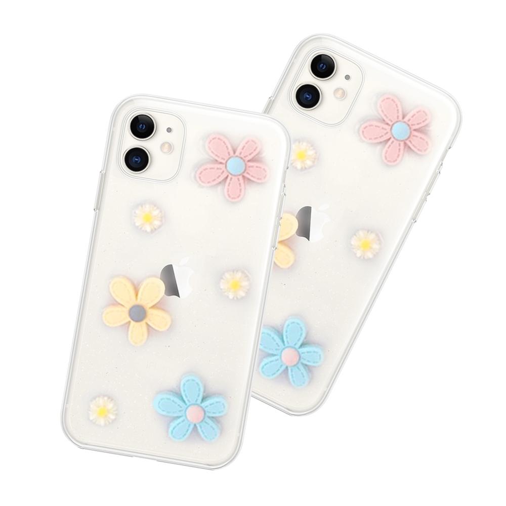 iPhone 11 滴膠閃粉 小花 透明 手機殼 軟殼-11小花*1