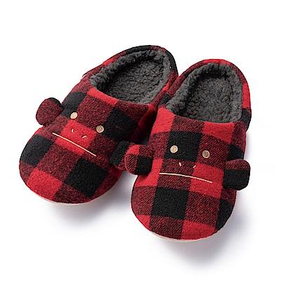 CRAFTHOLIC宇宙人 經典紅黑格紋猴室內拖鞋( 女生尺碼 )