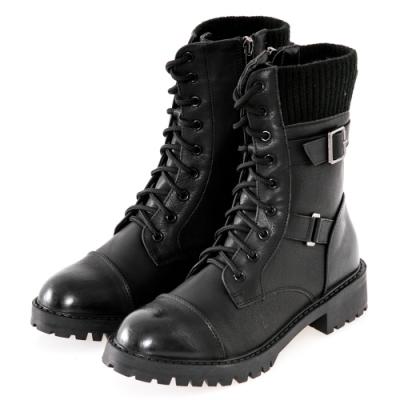 JMS-街頭風拼接扣環綁帶馬汀軍裝感中靴-黑色