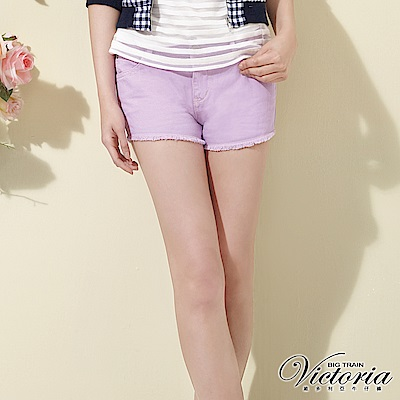 Victoria 天絲棉鬚邊色染短褲-女-淺紫