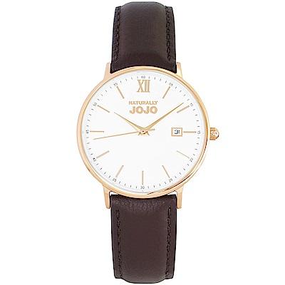 NATURALLY JOJO 簡約風尚真皮手錶女錶-玫瑰金框X咖啡/35mm