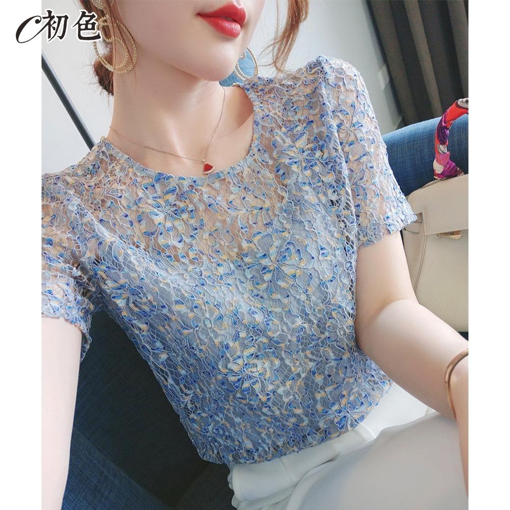 初色  優美蕾絲勾花上衣-藍色-(M-2XL可選)