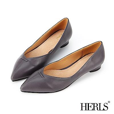 HERLS 簡約大方 內真皮縫線滾邊尖頭低跟鞋-灰藍色