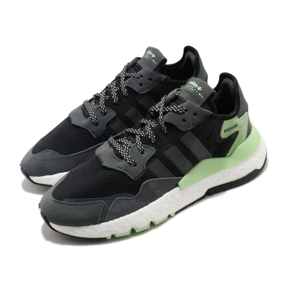 adidas 休閒鞋 Nite Jogger 復古 男鞋 海外限定 愛迪達 三葉草 反光 球鞋穿搭 黑 綠 FV3871