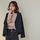 純色寬版雙排釦翻領率性短版風衣外套-OB嚴選