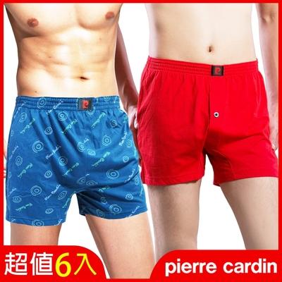 [時時樂激降!] 皮爾卡登 彈性寬鬆四角褲(6件組)_3款可選-印花/素面/平織印花