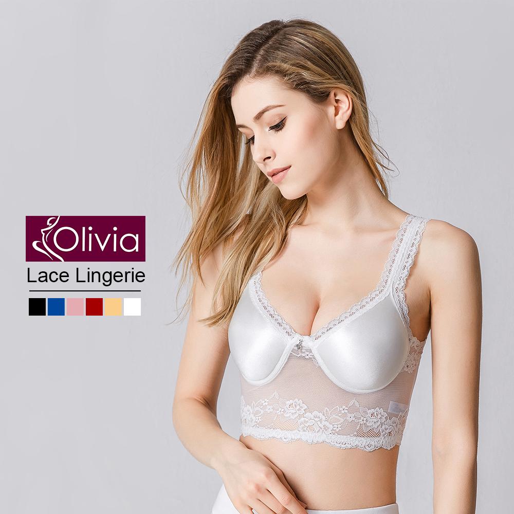Olivia 無鋼圈性感無痕蕾絲美背薄款內衣-白色