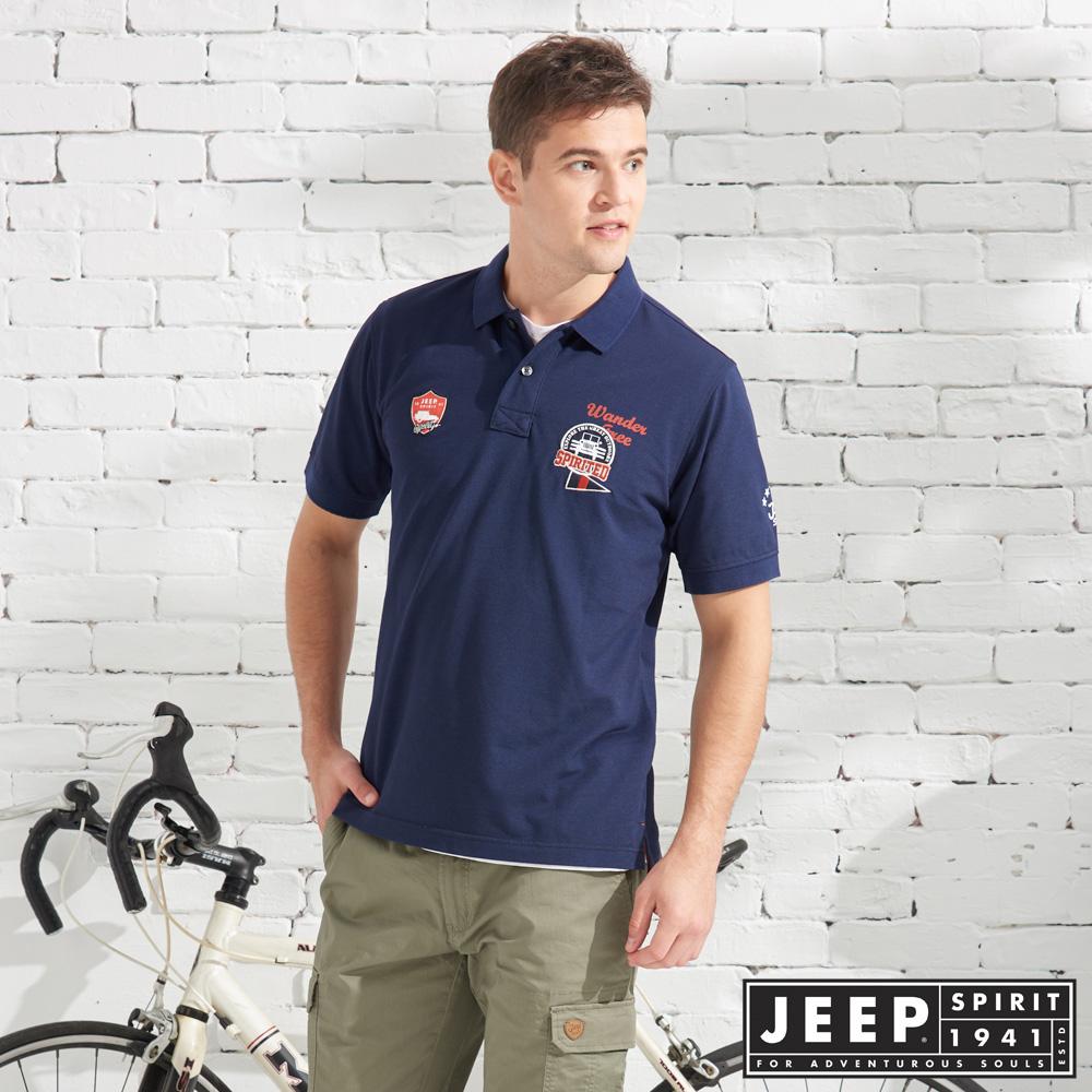 JEEP 美式造型徽章短袖POLO衫-藍色