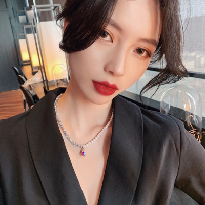 梨花HaNA 韓國水滴晶鑽珍珠雙色短鍊