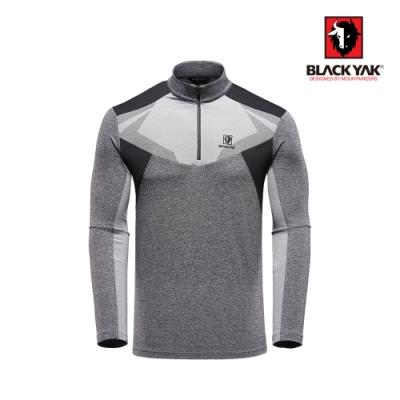 【BLACK YAK】男異材質拼接長袖半開襟上衣 [灰色]
