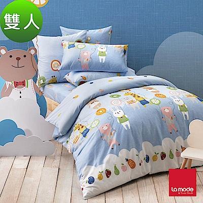 La mode寢飾 飄浮樂園環保印染100%精梳棉兩用被床包組(雙人)