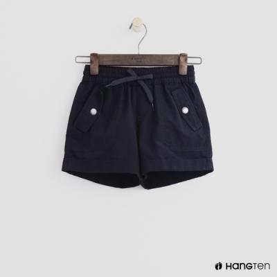 Hang Ten -童裝 - 素色綁帶捲邊休閒短褲 - 黑