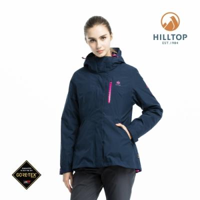 【hilltop山頂鳥】女款GORE-TEX三合一羽絨短大衣F22FZ4憂鬱藍