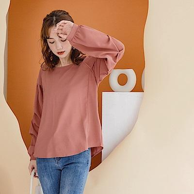 質感純色拼接打褶泡泡袖上衣-OB大尺碼