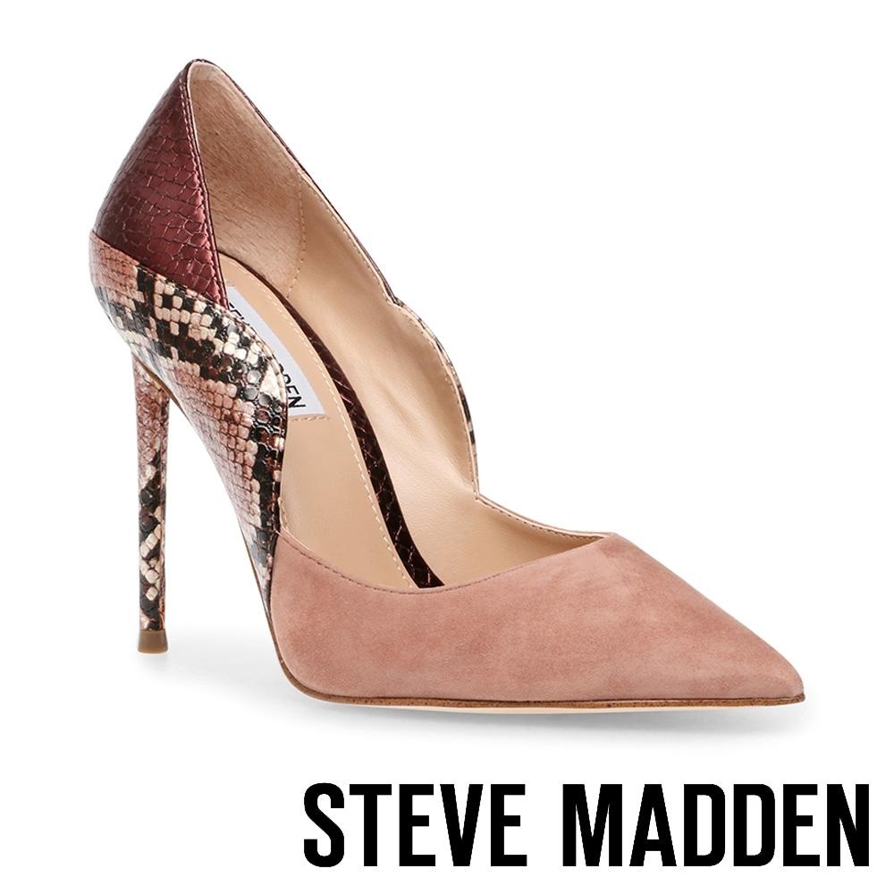 STEVE MADDEN-PROMOTION 羊皮拼接迷人尖頭高跟鞋-粉色