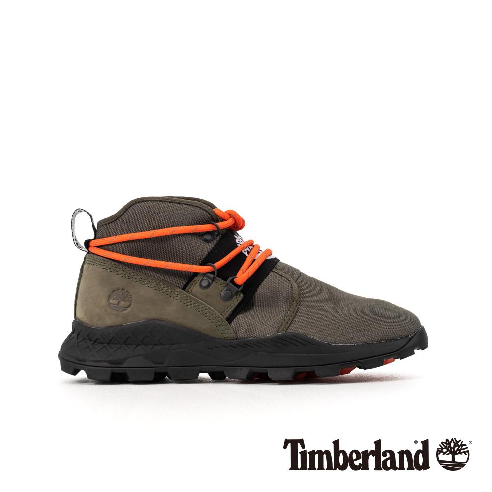 Timberland 男款深綠色皮革拼接Brooklyn休閒靴|A2BUD