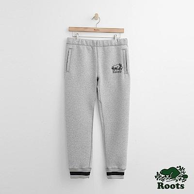 Roots 男裝-刺繡海狸棉質長褲-灰