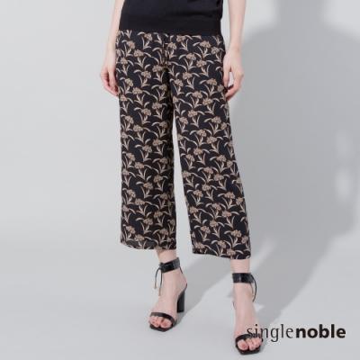 獨身貴族 花漾時尚印花綁帶直筒褲(1色)
