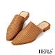 HERLS穆勒鞋 全真皮編織尖頭低跟穆勒鞋 棕色 product thumbnail 1