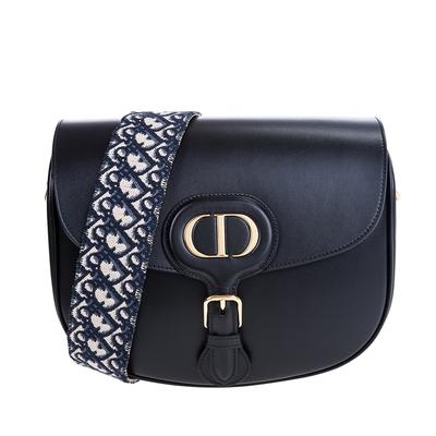 DIOR 新款DIOR BOBBY黑色抛光小牛皮配藍色 Dior Oblique 繡花背帶肩背包 (大款)