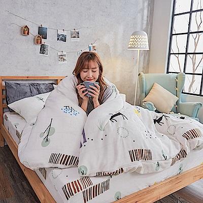 戀家小舖 / 法蘭絨  單人床包兩用毯組  蒂蒂小鹿  保暖抗寒