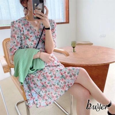 【白鵝buyer】甜美 新清風碎花夏日洋裝(藍綠)