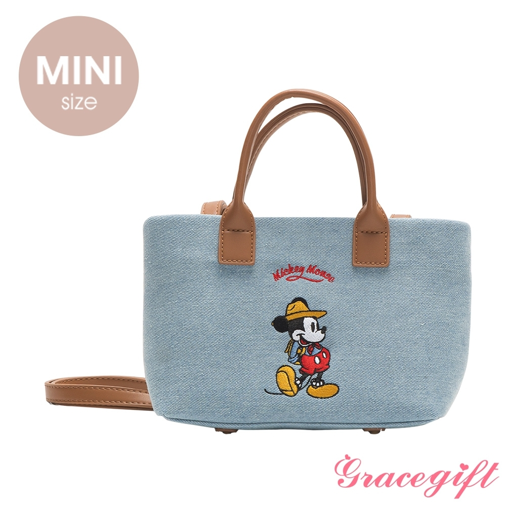 Disney collection by grace gift–唐葳設計迪士尼米奇露營2WAY帆布包Mini 單寧