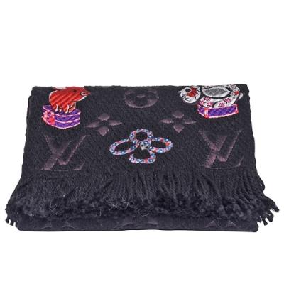 LV M71578經典LOGOMANIA SUPERSTITION中國12生肖圖案羊毛圍巾