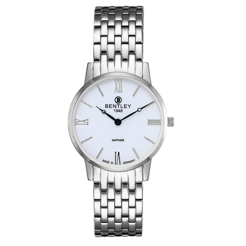 BENTLEY賓利 永恆愛戀系列 真情時刻手錶-白x銀/32mm